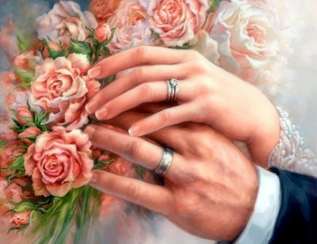 Wedding on Valentine's Day - weddings, holiday, love four seasons, roses, fingers, rings, Valentines, beloved valentines, couple