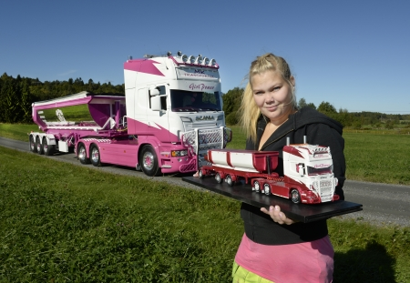 woman trucker - woman, scania, grass, trucker