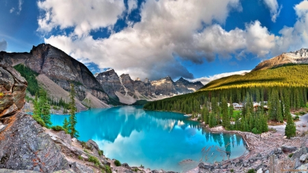Moraine Dammed Lake - moraine, mountains, nature, trees, clouds, lake