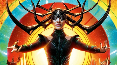 Thor: Ragnarok (2017) - poster, movie, orange, ragnarok, black, comics, Cate Blanchett, thor, hela, fantasy, blue
