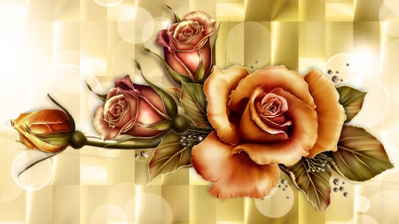 Golden Roses on Gold Bokeh , Flowers \u0026 Nature Background