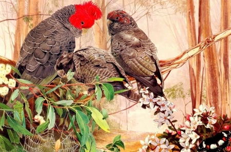 Parrots - art, pinctura, ed, pasare, parrot, bird, papagal, painting, flower, couple
