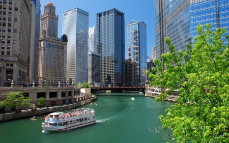 Spring in Chicago - city, ship, river, spring, America, Chicago, skyscrapers
