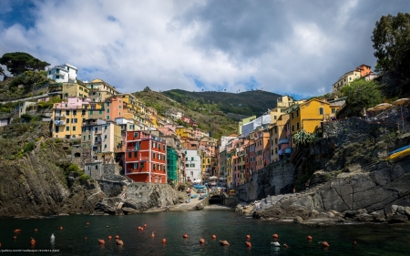 Riomaggiore, Liguria, Italy - town, Italy, houses, mountains, sea