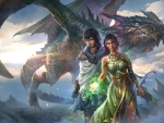 Fantasy couple and a dragon