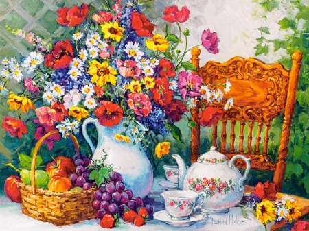 Time for Tea - table, fruits, painting, flowers, cup, chair, can, artwork