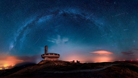Buzludzha Monument, Bulgaria - stars, horizon, monuments, milky way, nature, night, starry sky