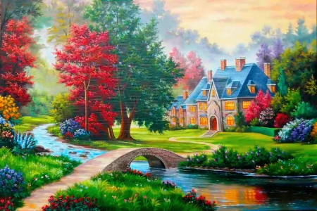 abstract cottage painting