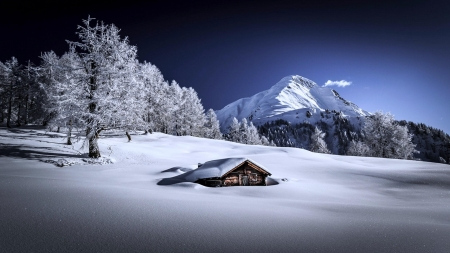 Hut On The Snow - hut, snow, cottage, mountains, nature, trees, winter, landscape
