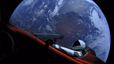 Car Orbiting Earth - cool, planet, space, funny, earth