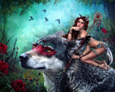 ~Forest Guardians~ - attractions in dreams, creative pre-made, digital art, woman, fantasy, photomanipulation, weird things people wear, wolf, forests