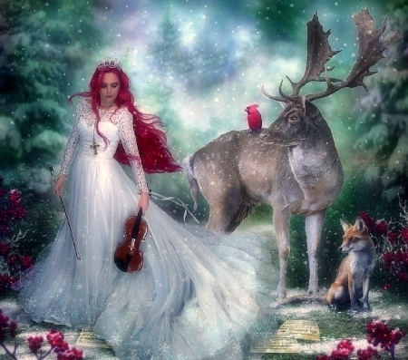 ~Winter Melody~ - redhead, melody, attractions in dreams, creative pre-made, woman, digital art, deer, winter, fantasy, fox, photomanipulation, weird things people wear, forests, cardinal