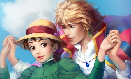 Howl and Sophie - red, manga, yellow, man, howl, howls moving castle, sophie, hat, fantasy, girl, green, witless, anime, couple