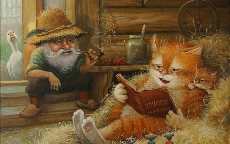 Story Time In The Barn - fence, grass, mice, stairs, book, glasses, barn, jar, wheel, wood, story time, shelf, man, goose, cat, hay, hat, wagon wheel, berries, cats, pipe, kitten, steps