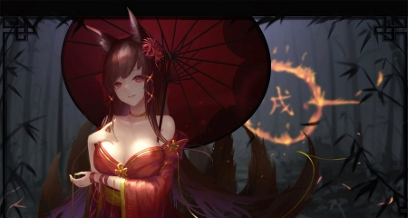 Akagi - red, pretty, foxxie girl, umbrella, beautiful, woman, sweet, bamboo, anime, beauty, anime girl, long hair, forest, lovely, female, brown hair, smile, fire, girl, lady