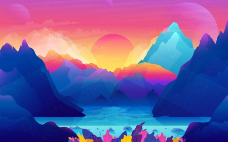 Colorful Scenery - 2018, scenery, Colorful, mountains