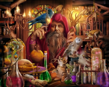 Merlin's Laboratory - painting, sorcerer, cat, utensils