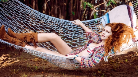 Made In The Hammock . . - Teresa Palmer, female, models, cowgirl, boots, ranch, fun, hammock, outdoors, women, redheads, fashion, western, style