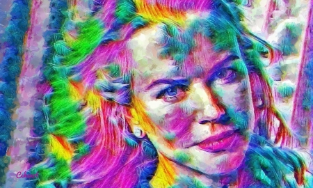 Nicole Kidman - Nicole Kidman, art, yellow, by cehenot, cehenot, abstract, woman, green, girl, actress, painting, face, pictura, pink, blue