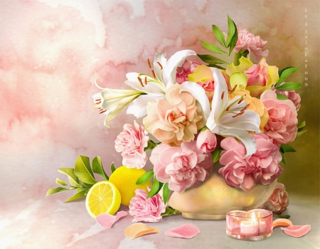 ♥ - flowers, lilies, still life, pink