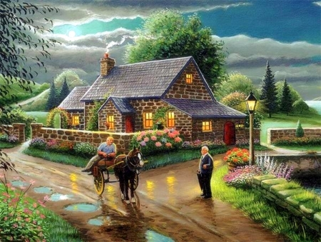 LAKESIDE COTTAGE - lakeside, paintings, houses, love four seasons, nature, spring, attractions in dreams, lake