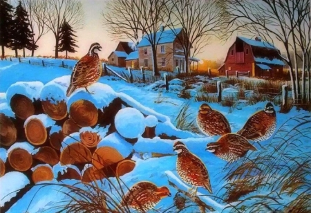 TWILIGHT COVEY - villages, houses, love four seasons, birds, attractions in dreams, winter, countryside, paintings, snow, nature