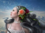 Girl with Rose in Hair