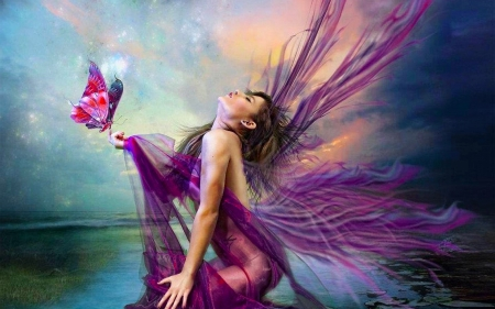 Butterfly Fairie - pretty, art, female, wings, beautiful, woman, fairie, fantasy, butterfly, girl, purple, digital, fairy