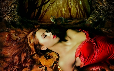 Hour of the Wolf - pretty, art, forest, female, red dress, beautiful, clock, woman, fantasy, girl, digital, wolf