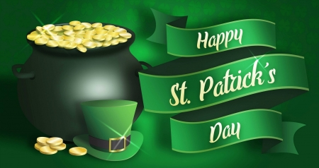 St. Patrick's Day - Saint Patricks Day, coins, hat, clovers, top hat, St Patricks Day, gold, cauldron, green, shamrocks, Patricks Day, gold coins