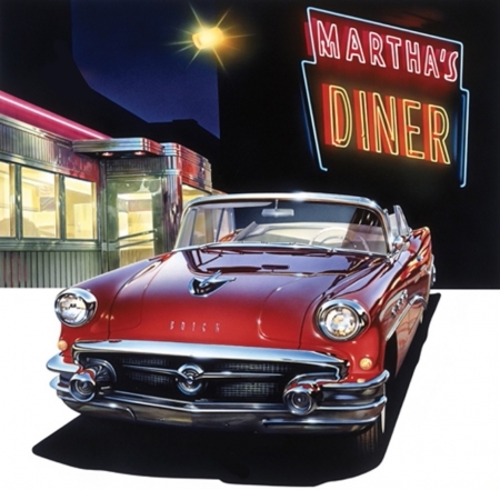 Buick '56 at Martha's Diner - usa, buick, painting, american, diner