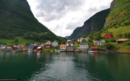 Village in Norway - houses, mountains, fjord, village, Norway