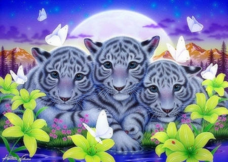 Spring of Brothers - moons, family, white tigers, tigers, love four seasons, butterflies, spring, brothers, paintings, flowers, butterfly designs, animals