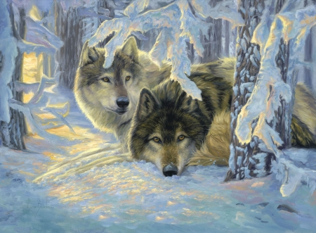 Deep Woods - forest, snow, painting, sunset, wolves, artwork, winter