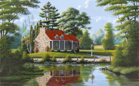 House by The Pond - cozy, home, countyside, trees, pond, water, nature, Painting, House