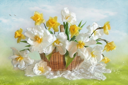 Spring Flowers - doily, basket, daffodils, birds, flowers, Spring, clouds, sky