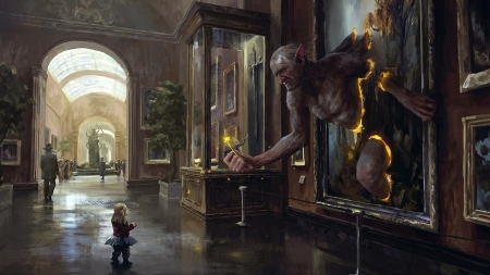 :) - art, giant, museum, little, frame, fantasy, girl, flower, funny, creature