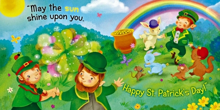 Happy St. Patrick's Day - squirrel, sun, mice, Patricks, pot, rainbow, coins, Happy Saint Patricks Day, clouds, bushes, pot of gold, bows, clovers, St Patricks Day, rabbits, flowers, Patricks Day, gold coins, stars, hills, hats, Saint Patricks Day, leprechauns, bugs, butterflies, Happy St Patricks Day, sky, ladybug, shamrocks, bunnies