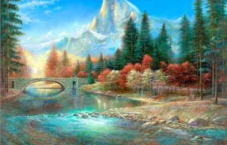 Yosemite - Yosemite, bridges, love four seasons, attractions in dreams, parks, paintings, mountains, summer, nature, rivers