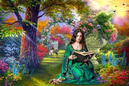 Girl Reading In The Garden Fantasy Abstract Background
