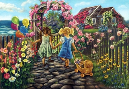 Forever Friends - house, painting, flowers, garden, children, artwork