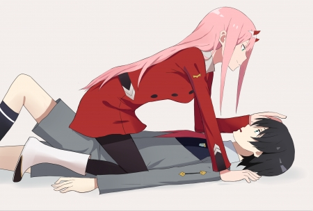 Zero Two & Hiro - red, pretty, beautiful, horns, sweet, love, anime, beauty, anime girl, long hair, couple, black hair, lovely, man, cute, short hair, kawaii, boy, girl, uniform, pink hair