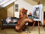 Dog Painter and Cat