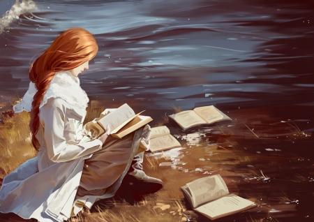 Girl Reading A Book Fantasy Abstract Background