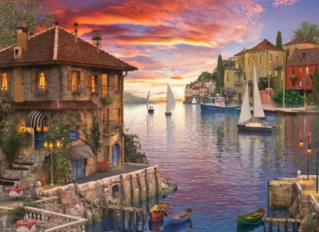 Mediterranean Harbor - yachts, cafe, water, restaurant, harbour, sunset, bistro, sky