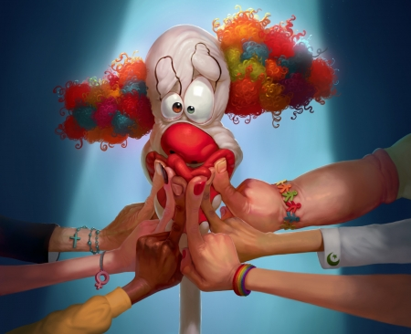Freedom of expression - clown, colorful, fantasy, luminos, hand, runo hamzagic, freedom of expression