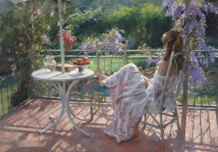 Woman on the terrace - art, luminos, vicente romero redondo, woman, terrace, vara, painting, summer, pictura