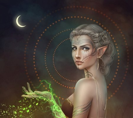 Sorceress - frumusete, missqualle, luminos, luna, elf, sorceress, moon, fantasy, girl, green, magical, hand