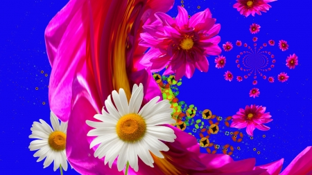 Happy flowers - pretty, magenta, daisies, flowing, fabric, flowers, white, pink, blue