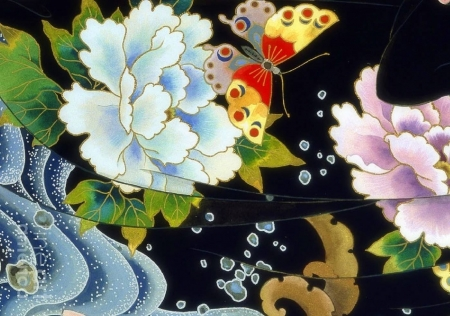 Echigo Dojouji Crop II - Japan, love four seasons, spring, kimono, peonies, textures, paintings, butterfly, Japanese, flowers, traditions, nature, butterfly designs